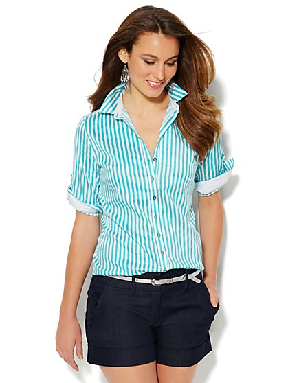 7th Avenue Design Studio - Madison Shirt - Button-Front Shirt - Stripe  - New York & Company