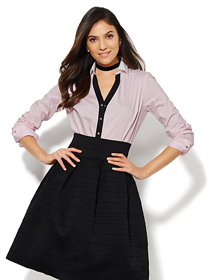 7th Avenue Design Studio - Madison Shirt - Contrast Placket - Pink Dream - New York & Company
