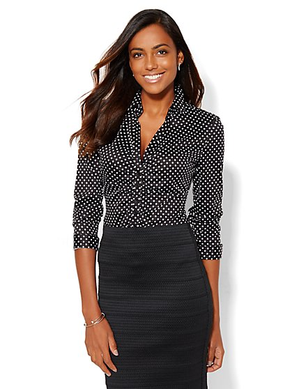 7th Avenue Design Studio - Madison Shirt - Dot Print  - New York & Company