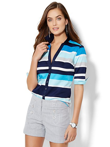 7th Avenue Design Studio - Madison Shirt - Elbow Length Sleeve - Stripe - New York & Company