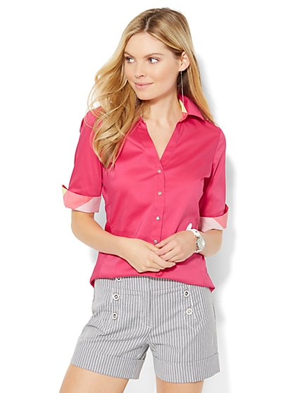 7th Avenue Design Studio - Madison Shirt - Elbow-Sleeve - Contrast Trim  - New York & Company