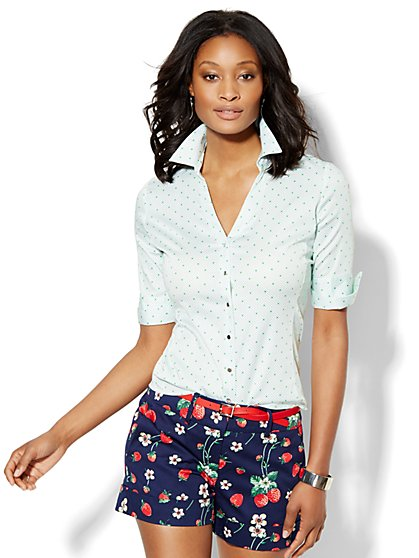 7th Avenue Design Studio - Madison Shirt - Elbow-Sleeve - Polka-Dot Print   - New York & Company