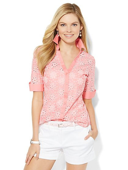 7th Avenue Design Studio Madison Shirt - Eyelet  - New York & Company