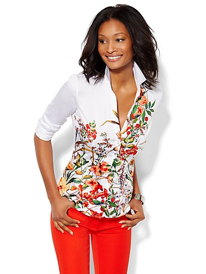 7th Avenue Design Studio Madison  Shirt - Floral - Petite  - New York & Company