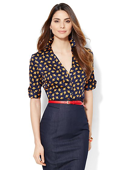 7th Avenue Design Studio - Madison Shirt - French Cuff - Bumblebee Print  - New York & Company