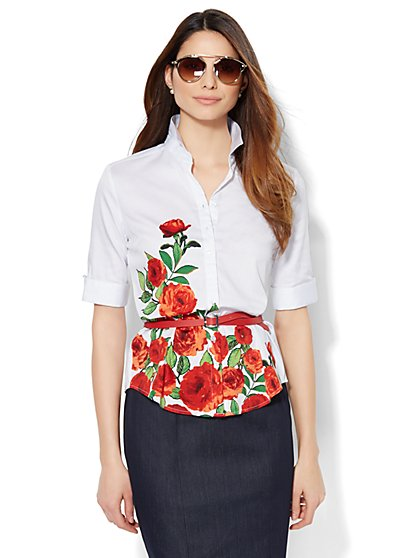 7th Avenue Design Studio - Madison Shirt - French Cuff - Floral  - New York & Company