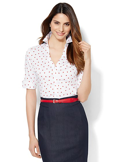 7th Avenue Design Studio - Madison Shirt - French Cuff - Ladybug Print  - New York & Company