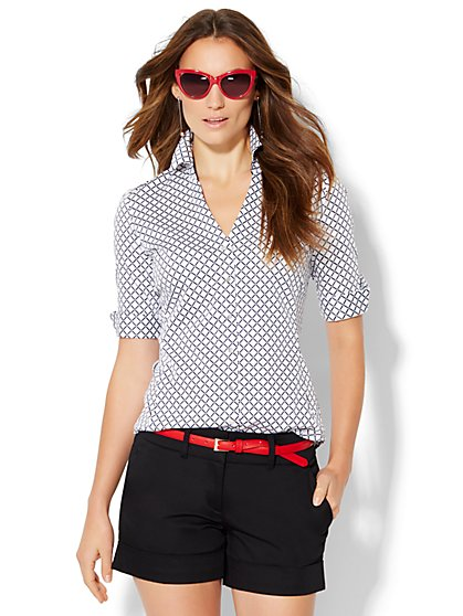 7th Avenue Design Studio Madison Shirt - Graphic Print  - New York & Company