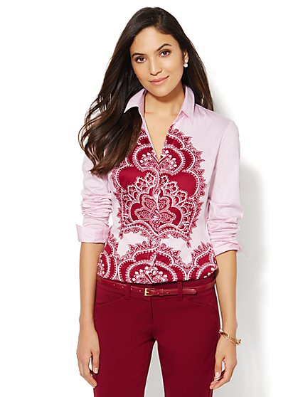 7th Avenue Design Studio - Madison Shirt - Paisley Print - Petite - New York & Company