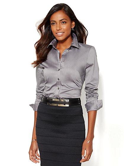 7th Avenue Design Studio - Madison Shirt - Solid - Pintuck  - New York & Company