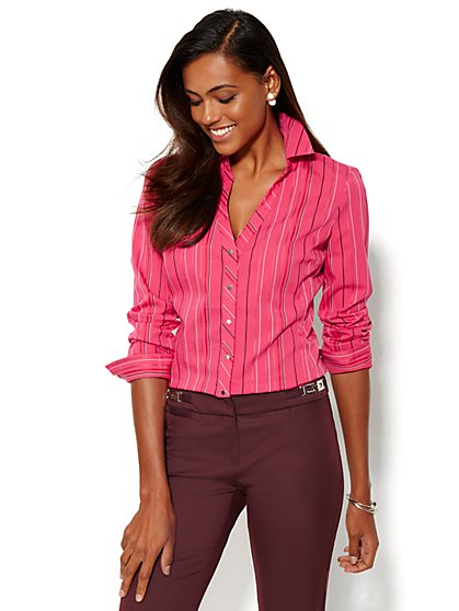 7th Avenue Design Studio - Madison Shirt - Stripe  - New York & Company