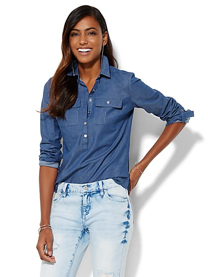 7th Avenue Design Studio - Madison Shirt - Super-Soft Chambray Popover - New York & Company