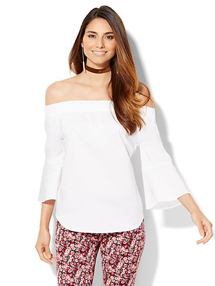 7th Avenue Design Studio - Madison Stretch Shirt -Bell-Sleeve Off-The-Shoulder - New York & Company