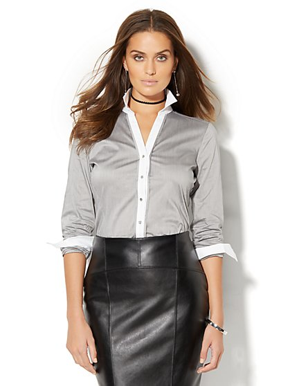 7th Avenue Design Studio - Madison Stretch Shirt - Black & White - Petite  - New York & Company