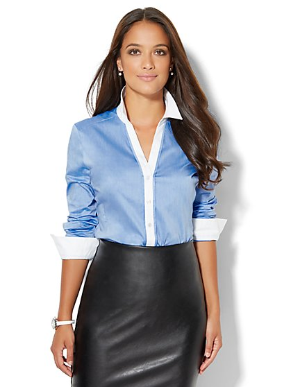 7th Avenue Design Studio - Madison Stretch Shirt - Contrast Trim - Blue Streak - Petite  - New York & Company