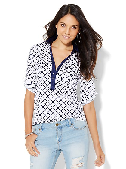 7th Avenue Design Studio - Madison Stretch Shirt - Double-Pocket Contrast Popover - Print  - New York & Company