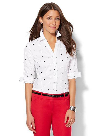 7th Avenue Design Studio - Madison Stretch Shirt - Embroidered Dot - Petite  - New York & Company
