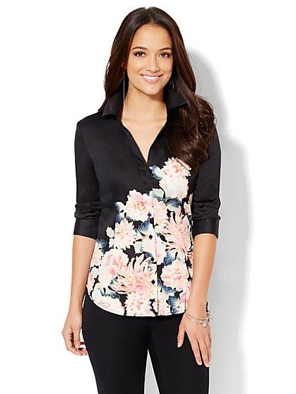 7th Avenue Design Studio - Madison Stretch Shirt - Floral - Petite  - New York & Company