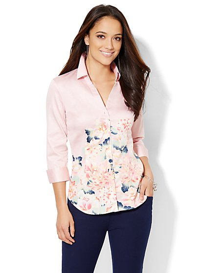 7th Avenue Design Studio - Madison Stretch Shirt - Floral - Petite  - New York & Company