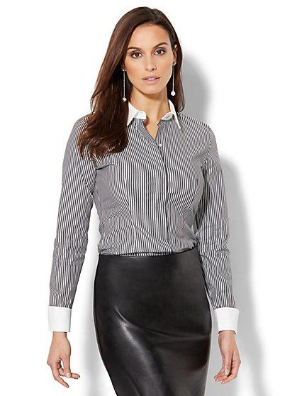 7th Avenue Design Studio - Madison Stretch Shirt - French Cuff - Lurex Stripe - New York & Company