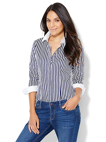 7th Avenue Design Studio - Madison Stretch Shirt - French Cuff - Stripe - Tall  - New York & Company