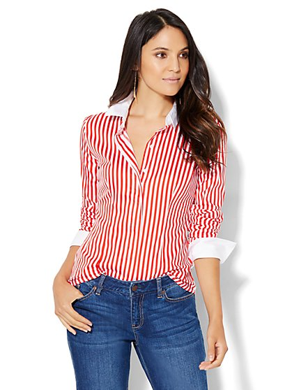 7th Avenue Design Studio - Madison Stretch Shirt - French Cuff - Stripe  - New York & Company