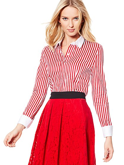 7th Avenue Design Studio - Madison Stretch Shirt - French-Cuff - Stripe - New York & Company
