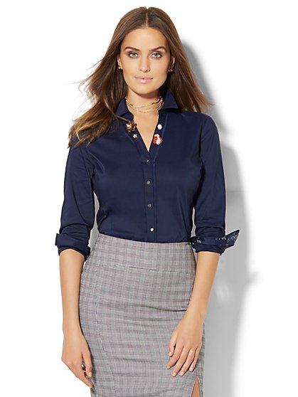 7th Avenue Design Studio - Madison Stretch Shirt - Grand Sapphire - Petite  - New York & Company