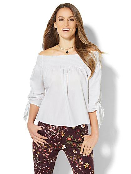 7th Avenue Design Studio - Madison Stretch Shirt - Off-Shoulder  - New York & Company