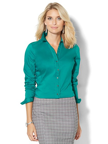 7th Avenue Design Studio -  Madison Stretch Shirt - Solid - Petite  - New York & Company