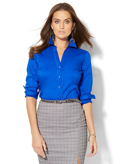 7th Avenue Design Studio - Madison Stretch Shirt - Solid - New York & Company