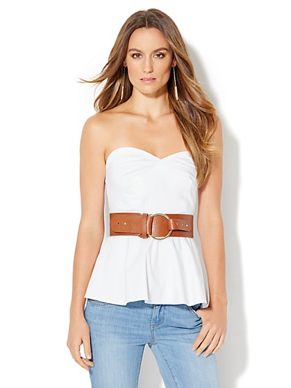 7th Avenue Design Studio - Madison Stretch Shirt - Strapless Peplum - White  - New York & Company