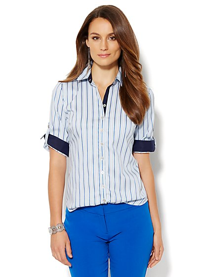 7th Avenue Design Studio - Madison Stretch Shirt - Stripe  - New York & Company