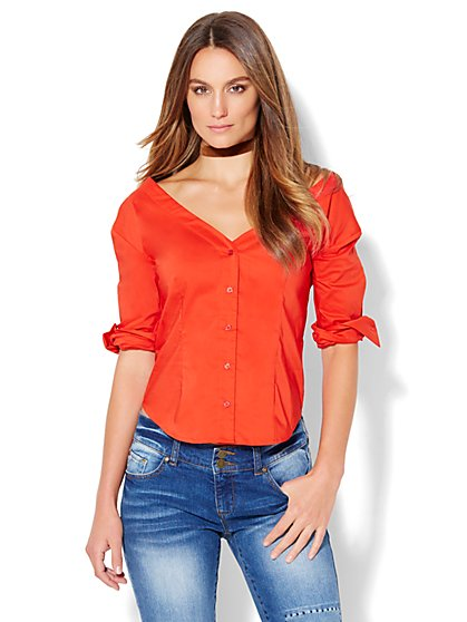 7th Avenue Design Studio - Madison Stretch Shirt - V-Neck Off-The-Shoulder - New York & Company