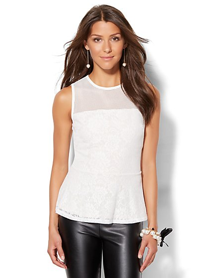 7th Avenue Design Studio - Mesh Panel Peplum Top  - New York & Company