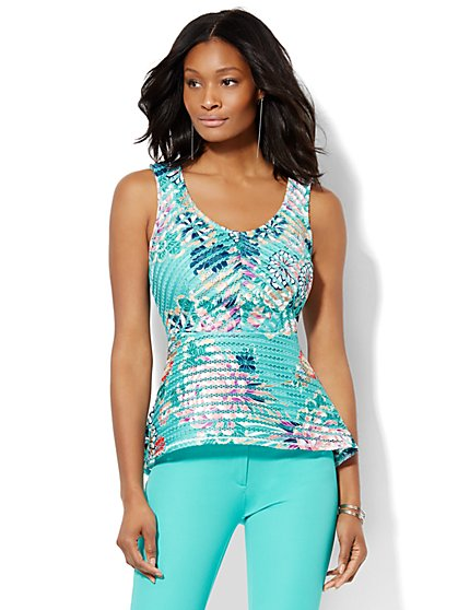 7th Avenue Design Studio - Mesh Stripe Peplum Top  - New York & Company