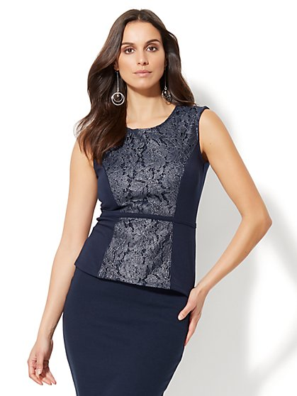7th Avenue Design Studio - Metallic Lace Peplum Top - New York & Company