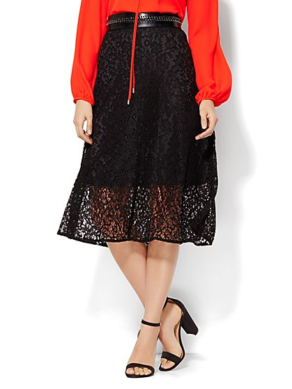 7th Avenue Design Studio Midi Lace Flare Skirt  - New York & Company