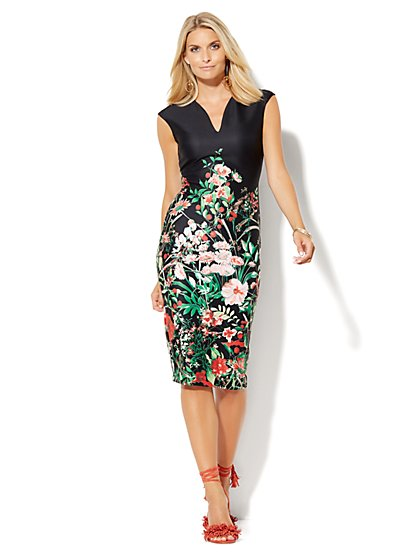 7th Avenue Design Studio - Midi Scuba Sheath Dress - Floral  - New York & Company