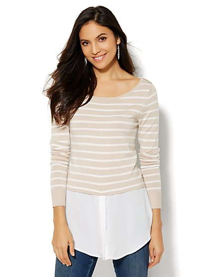 7th Avenue Design Studio - Mixed-Fabric Striped Pullover - New York & Company