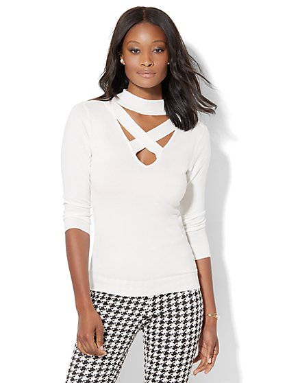 7th Avenue Design Studio - Mock-Neck Crisscross Sweater  - New York & Company