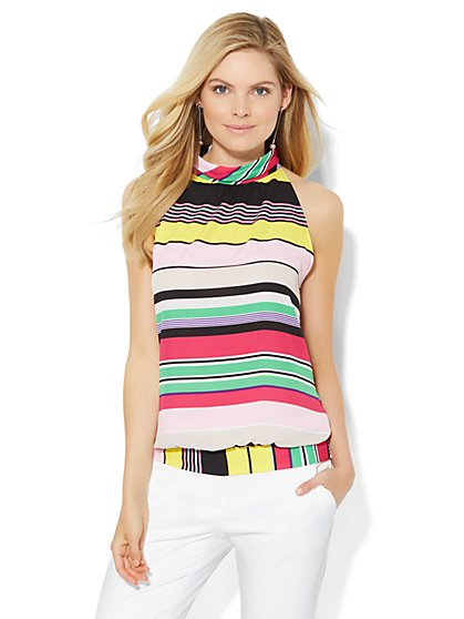 7th Avenue Design Studio - Mock-Neck Halter Blouse - Stripe  - New York & Company