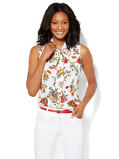 7th Avenue Design Studio - Modern Bow Blouse - Floral - New York & Company