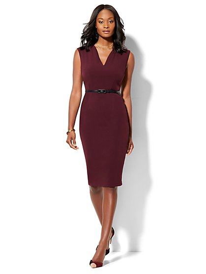 7th Avenue Design Studio - Modern Fit - Belted Sheath Dress - Burgundy  - New York & Company