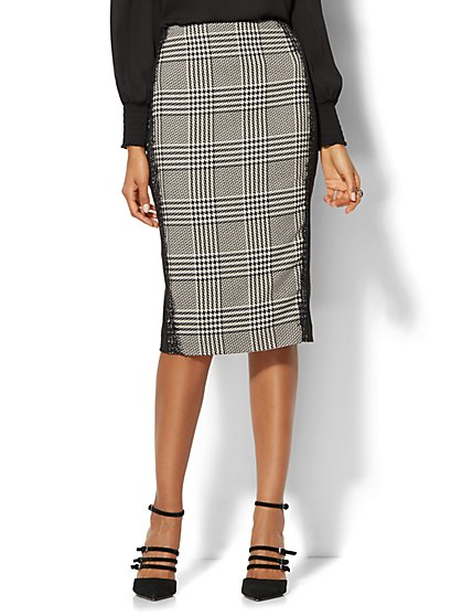 7th Avenue Design Studio - Modern Fit - Glen Plaid Pencil Skirt  - New York & Company