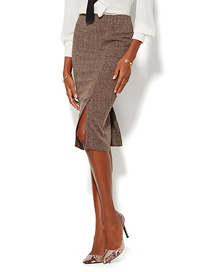 7th Avenue Design Studio - Modern Fit - Pencil Skirt - Brown Tweed - Petite - New York & Company