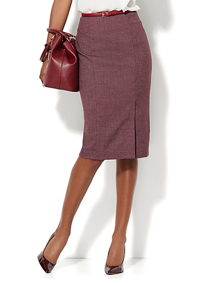 7th Avenue Design Studio - Modern Fit - Pencil Skirt - True Burgundy  - New York & Company