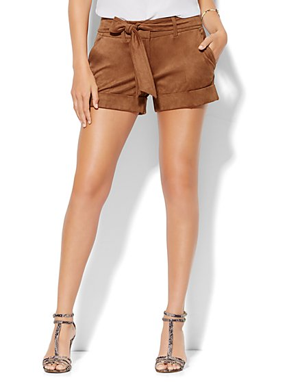 7th Avenue Design Studio - Modern Fit - Tie Waist Short - Ultra-Suede - New York & Company