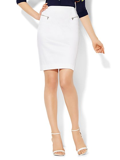 7th Avenue Design Studio - Modern Fit - Zip-Accent Mini Skirt - Optic Twill - New York & Company