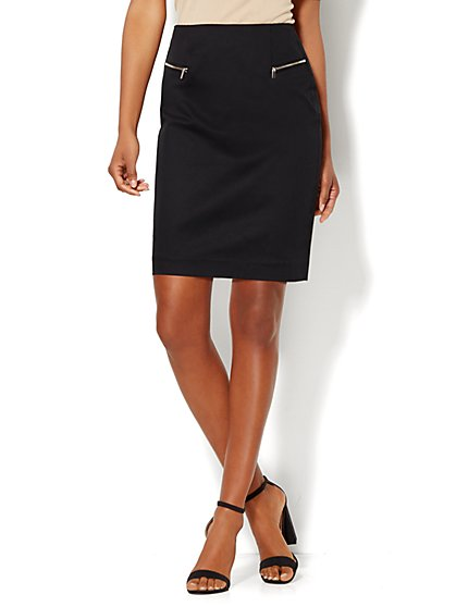 7th Avenue Design Studio - Modern Fit - Zip-Accent Mini Skirt  - New York & Company